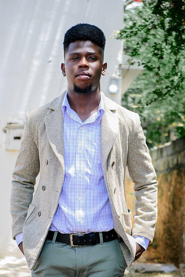 Man Wearing Gray Suit Jacket royalty free stock image