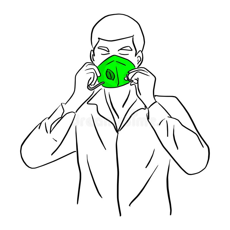 Man wearing green mask vector illustration sketch doodle hand drawn with black lines isolated on white background royalty free illustration