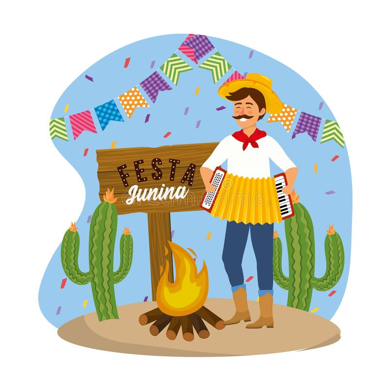 Man wearing hat with accordion and party banner. Vector illustration stock illustration