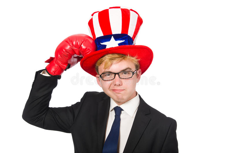 The man wearing hat with american symbols. Man wearing hat with american symbols stock image