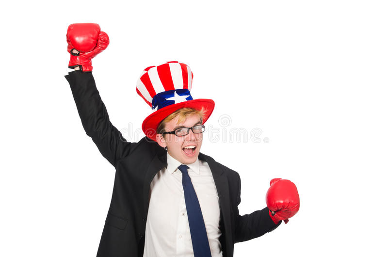 The man wearing hat with american symbols. Man wearing hat with american symbols royalty free stock photo