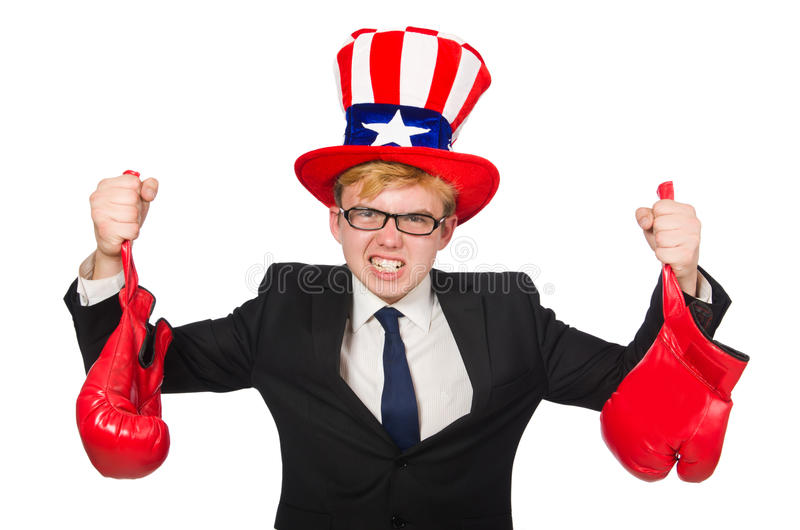 The man wearing hat with american symbols. Man wearing hat with american symbols royalty free stock photos