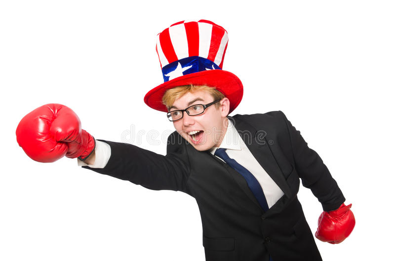 The man wearing hat with american symbols. Man wearing hat with american symbols royalty free stock images