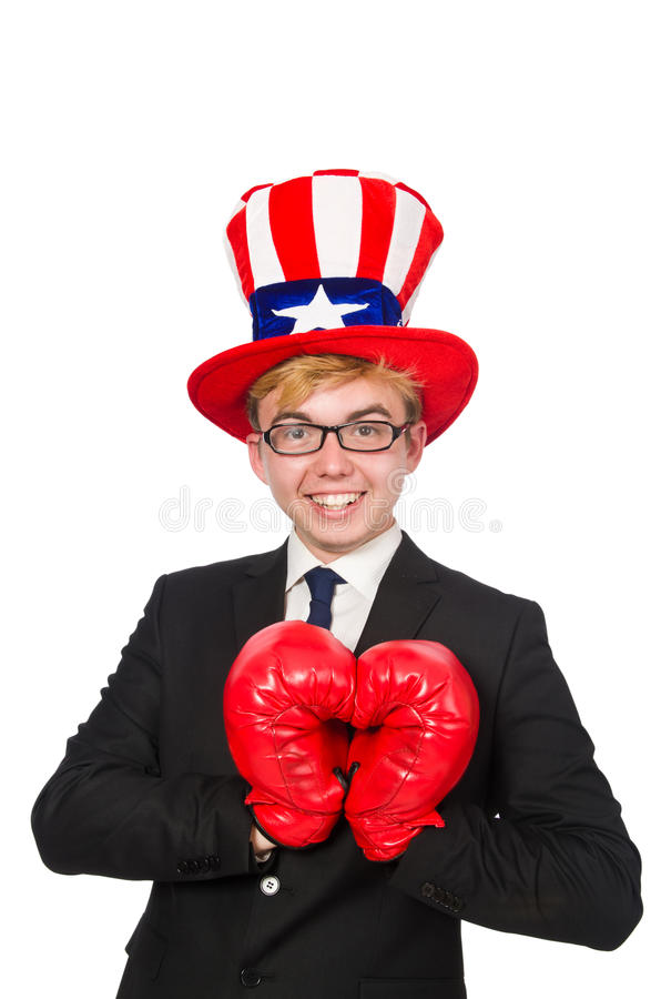 The man wearing hat with american symbols. Man wearing hat with american symbols stock photos