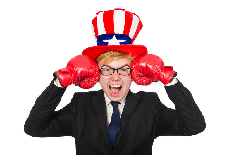 The man wearing hat with american symbols. Man wearing hat with american symbols royalty free stock photography