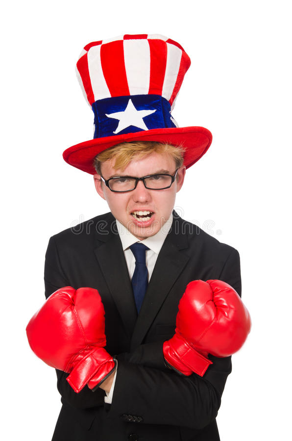 Man wearing hat with american symbols. The man wearing hat with american symbols stock images