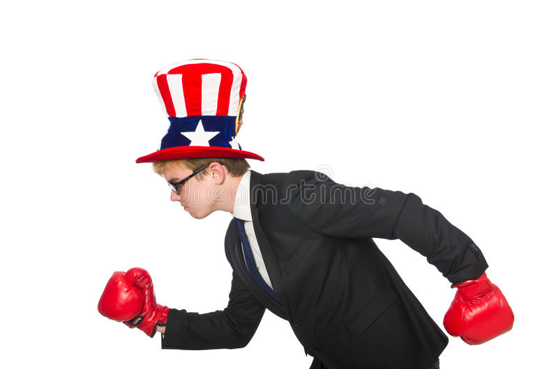 Man wearing hat with american symbols. The man wearing hat with american symbols stock image