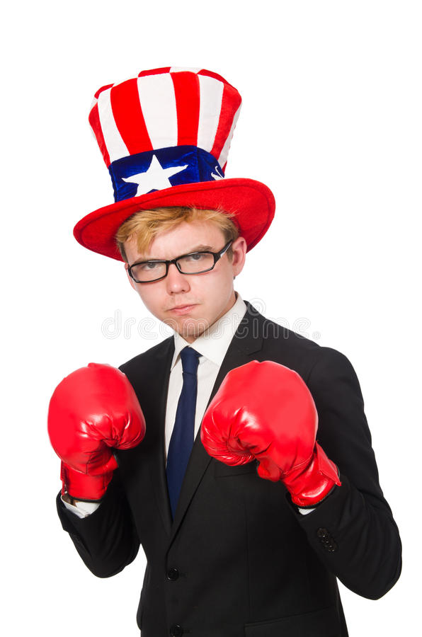 Man wearing hat with american symbols. The man wearing hat with american symbols stock photos