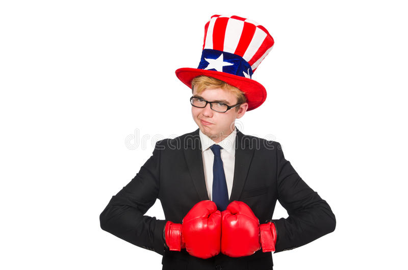 Man wearing hat with american symbols. The man wearing hat with american symbols royalty free stock images