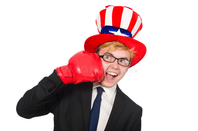 Man wearing hat with american symbols. The man wearing hat with american symbols stock photography