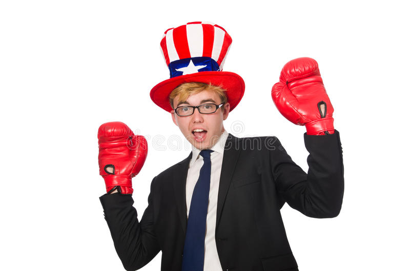 The man wearing hat with american symbols. Man wearing hat with american symbols stock photography