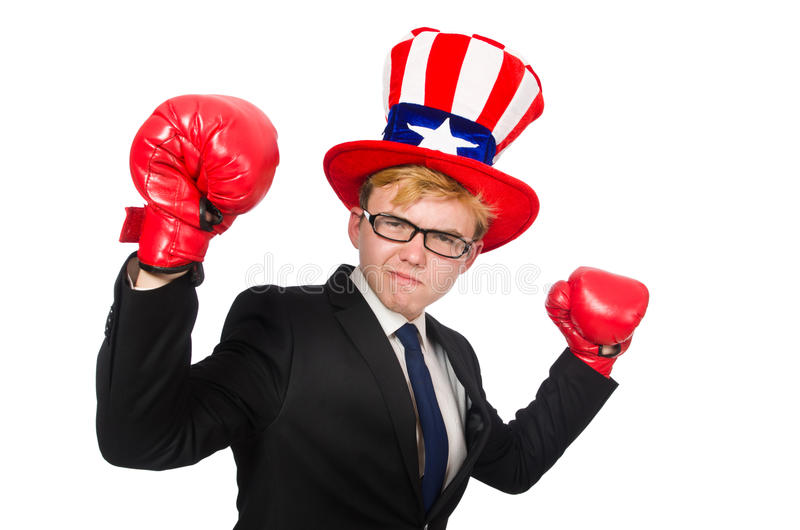The man wearing hat with american symbols. Man wearing hat with american symbols royalty free stock image