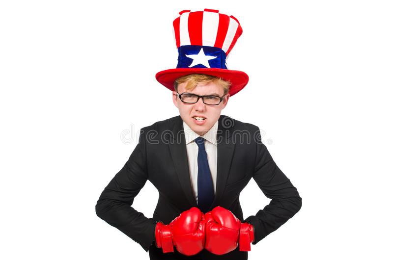 Man wearing hat with american symbols. The man wearing hat with american symbols royalty free stock image