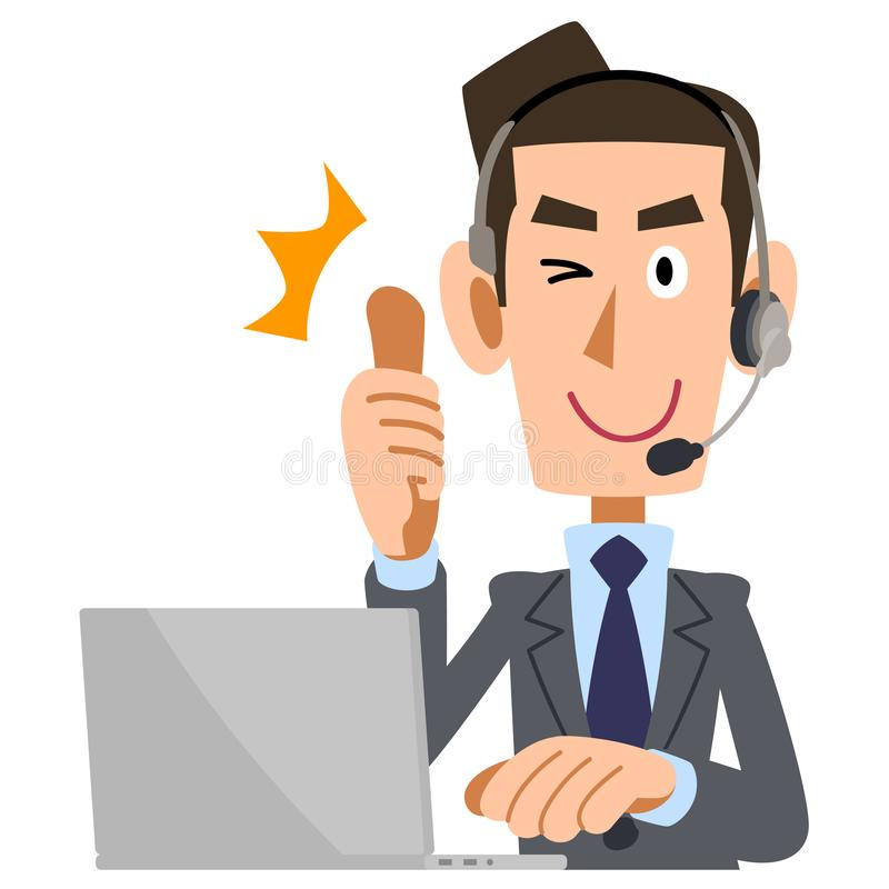 A man wearing a headset to thumb up. The image of A man wearing a headset to thumb up vector illustration
