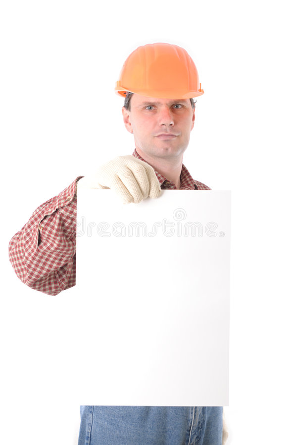 Man wearing helmet with blank sign royalty free stock images