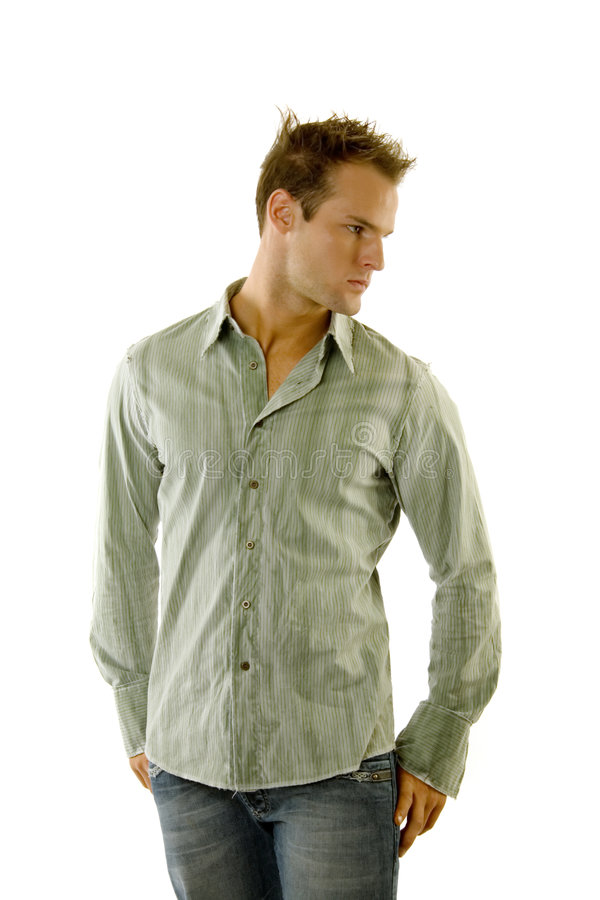 Man wearing jeans and shirt stock photo