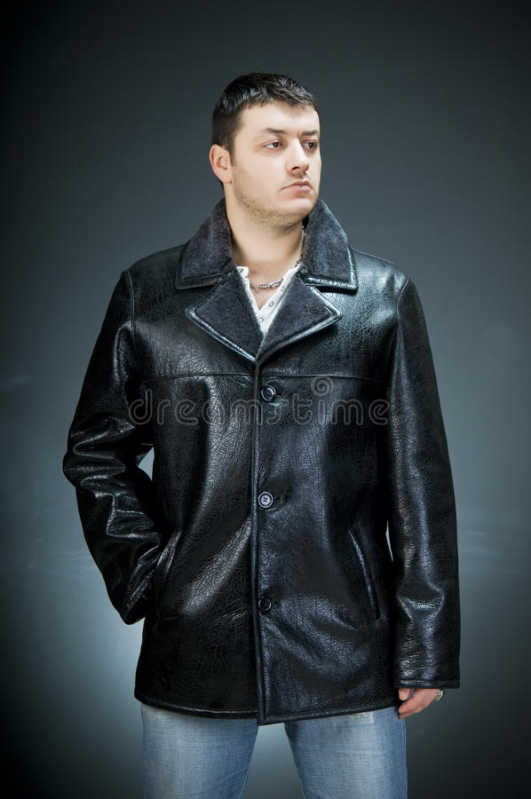 Man wearing leather jacket royalty free stock image