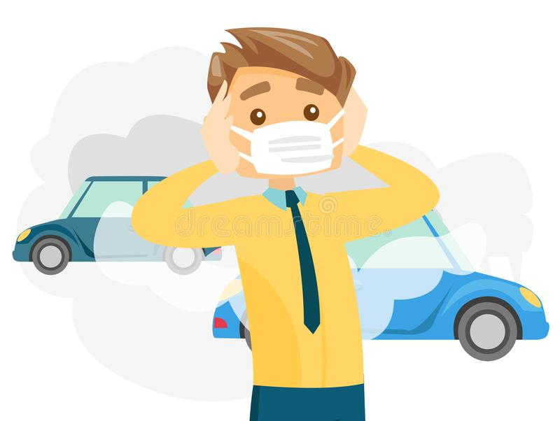 man wearing mask because of toxic air pollution stock vector rh dreamstime com air pollution clipart free air pollution cartoon clipart