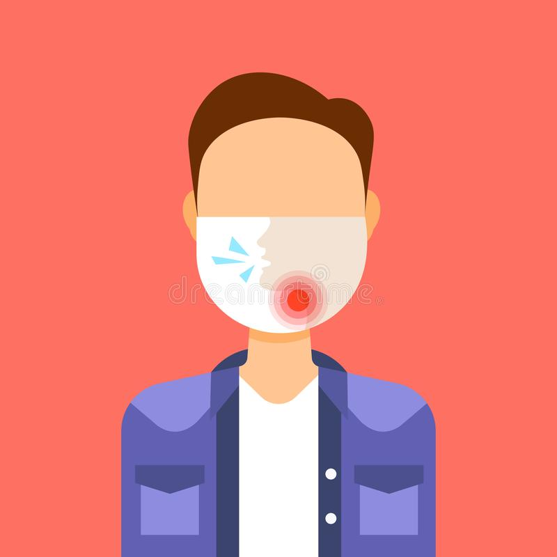 Man wearing protective face mask with painful sore throat ache illness medicine healthcare concept guy feeling sick male. Profile avatar portrait flat vector stock illustration