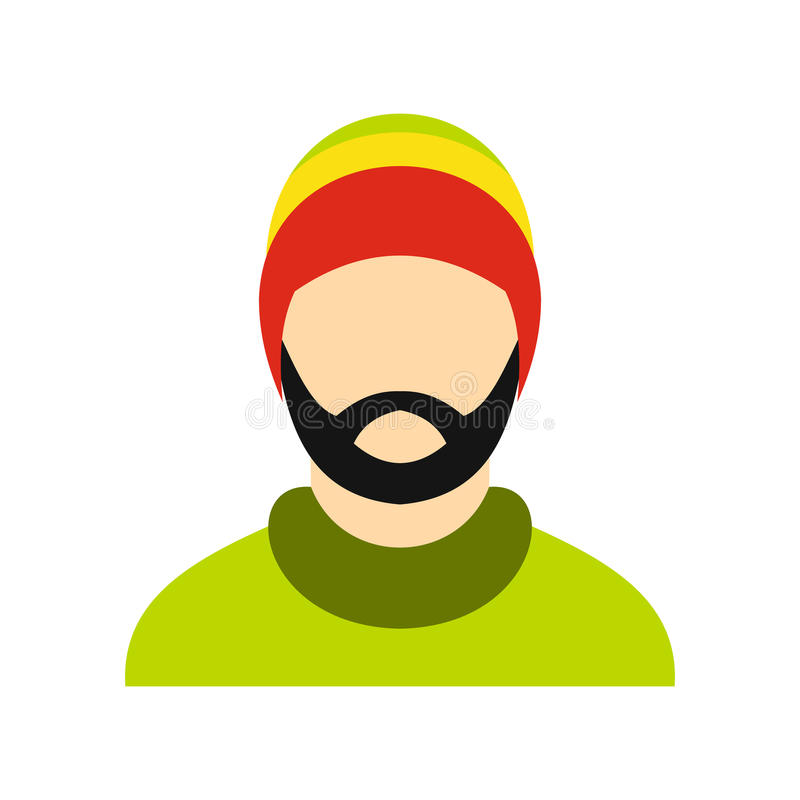 Free Man Wearing Rastafarian Hat Icon, Flat Style Royalty Free Stock Photography - 83332127