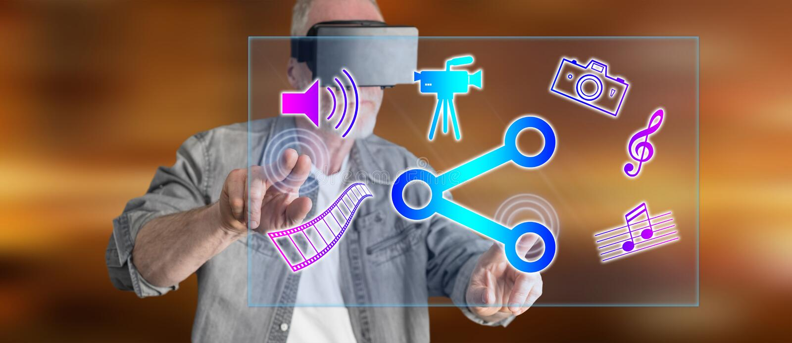 Man wearing a reality virtual headset touching a media likes sharing concept on a touch screen stock images
