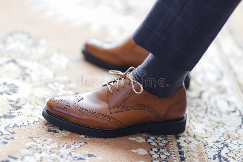 A man wearing shoes stock photography