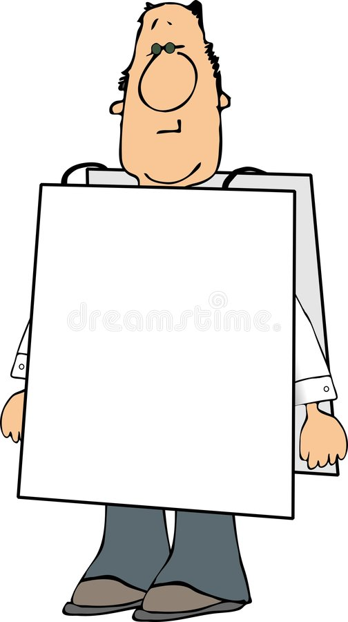 Man wearing a sign stock illustration