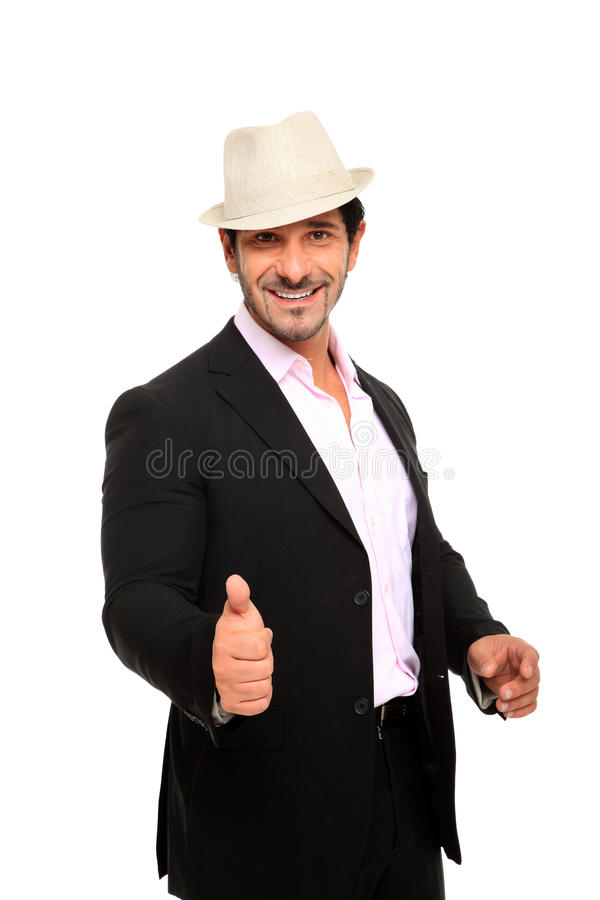 Download Man wearing suit and hat stock photo. Image of handsome - 22400888