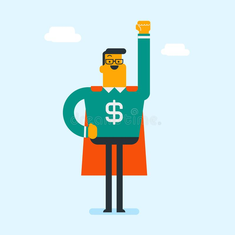 Man wearing superhero suit with dollar sign. Young caucasian white strong businessman wearing superhero suit with red cape and dollar sign on chest. Concept of vector illustration
