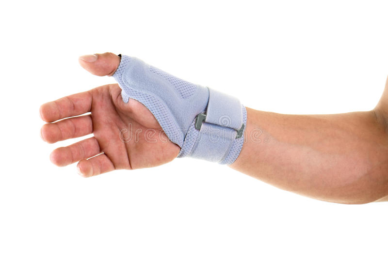 Man Wearing Supportive Brace on Wrist and Hand royalty free stock photos