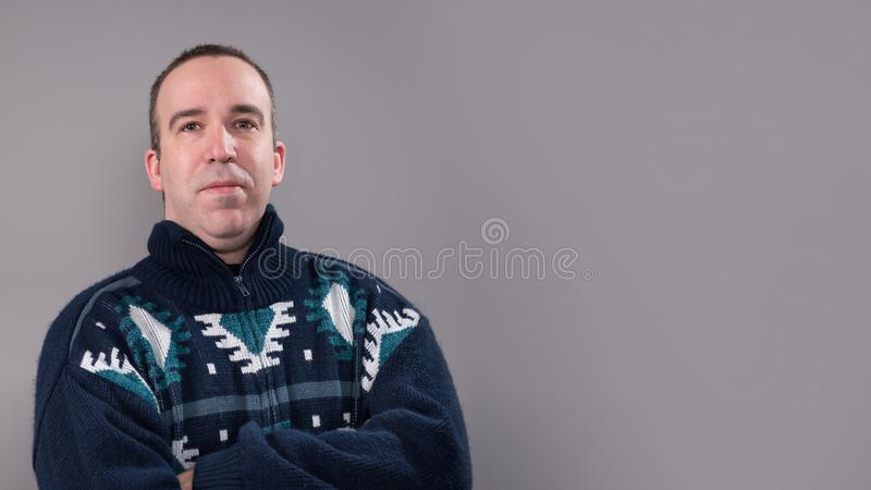 Man Wearing a Warm Sweater stock photos