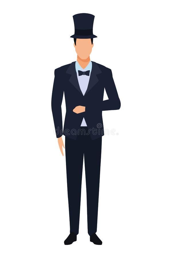 Man wearing tuxedo royalty free illustration