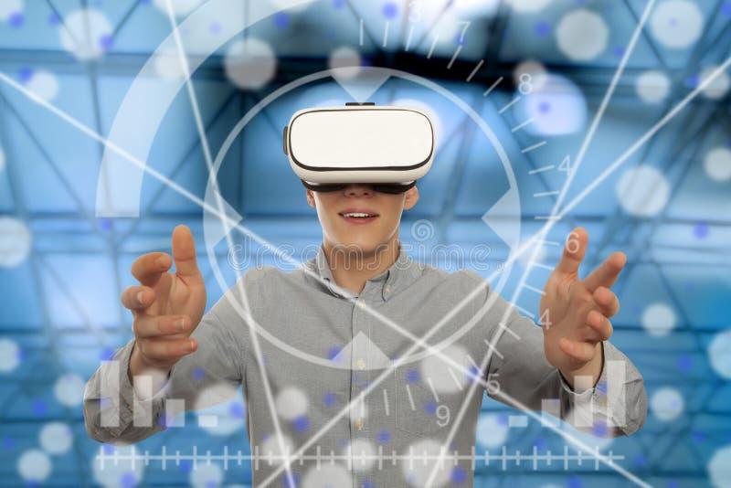 Man wearing virtual reality glasses stock photos