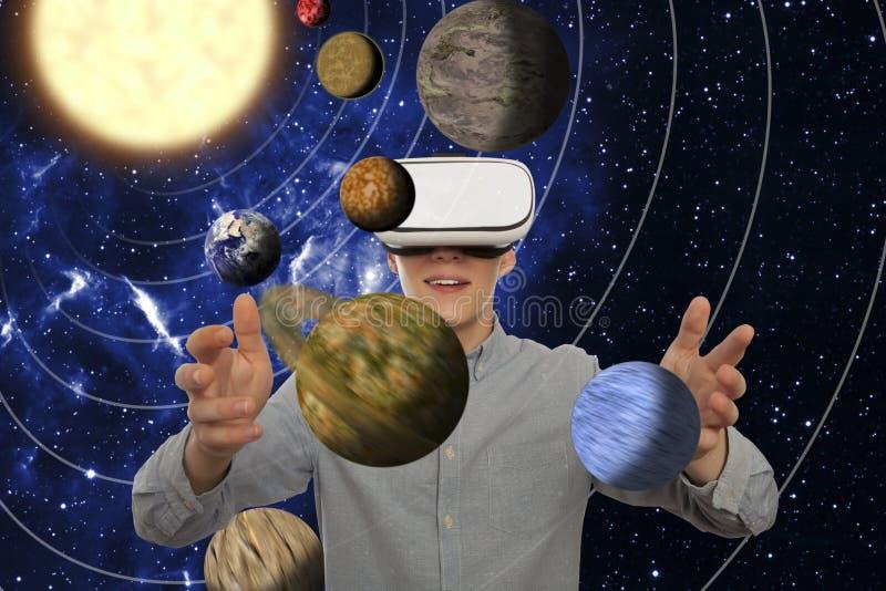 Man wearing virtual reality glasses stock image