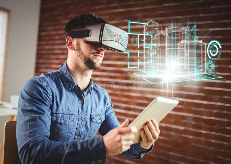 Man wearing VR Virtual Reality Headset with Interface royalty free illustration
