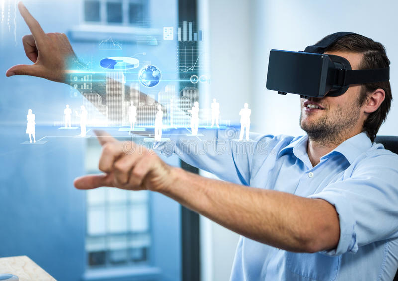 Man wearing VR Virtual Reality Headset with Interface. Digital composite of Man wearing VR Virtual Reality Headset with Interface royalty free illustration