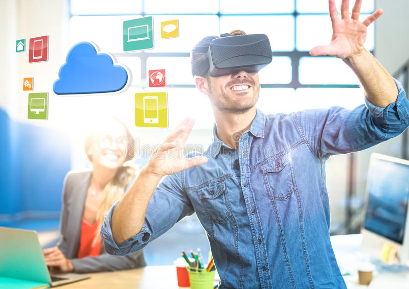 Man wearing VR Virtual Reality Headset with Interface royalty free stock image
