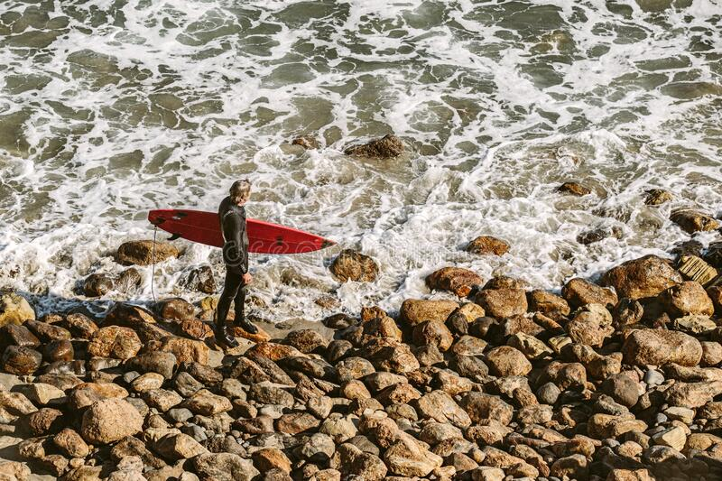 Man Wearing Wetsuit And Holding Red Surfboard On Shore Free Public Domain Cc0 Image