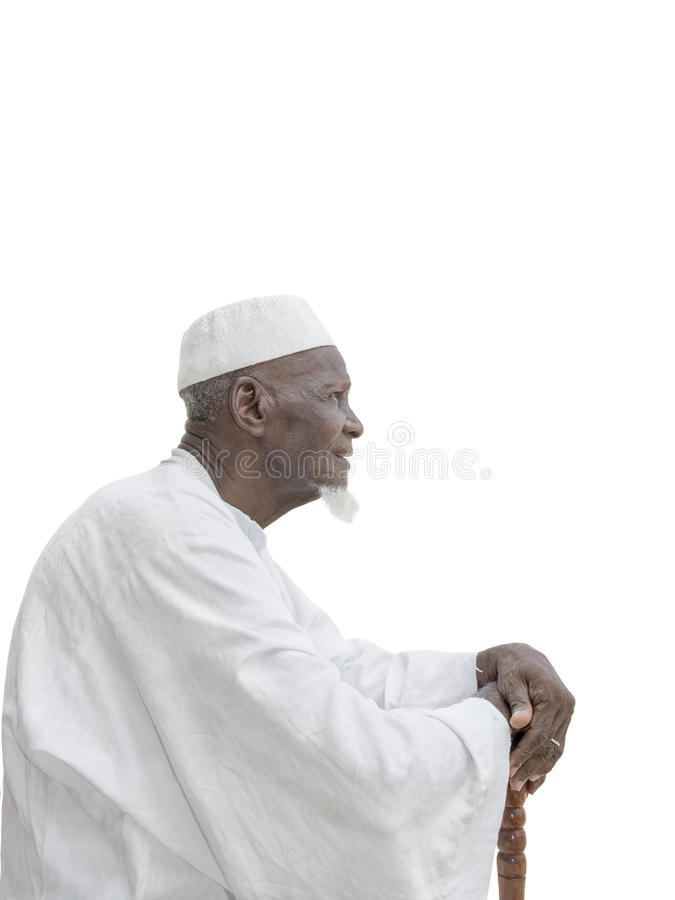 Man wearing a white garment, eighty years old stock photos