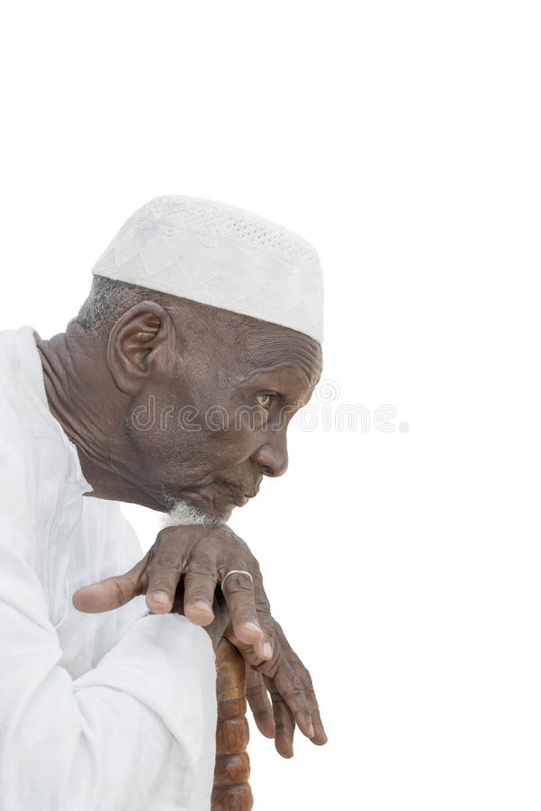 Man wearing a white garment, eighty years old royalty free stock image
