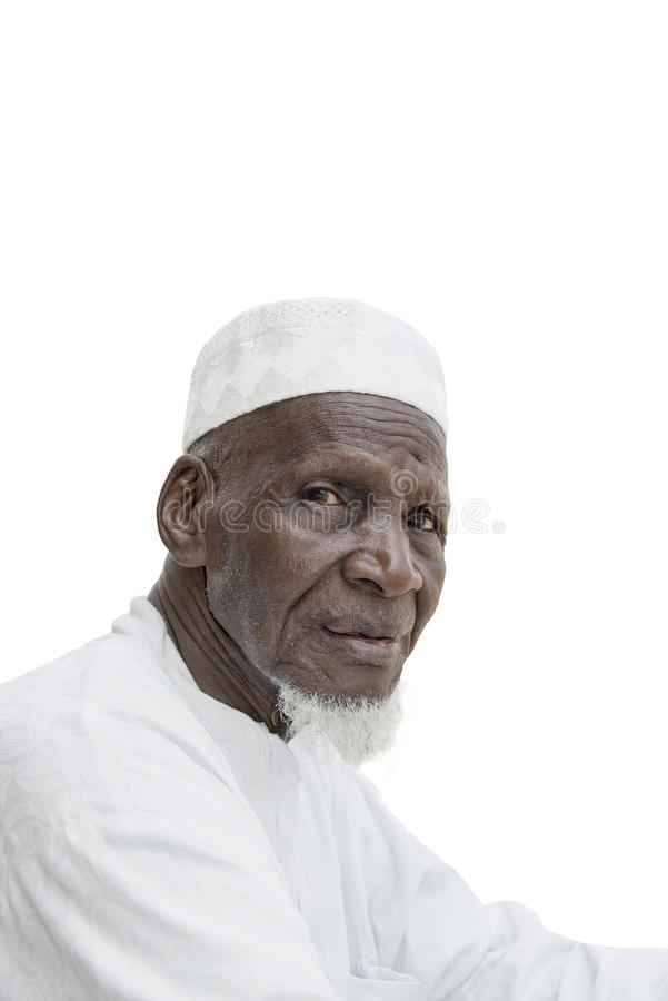 Man wearing a white garment, eighty years old stock photography
