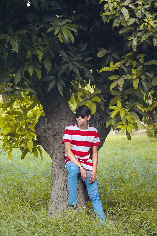 Man Wearing White and Red Stripe Crew-neck Shirt, Blue Denim Jeans, and Black Wayfarer-style Sunglasses Sitting Tree royalty free stock images