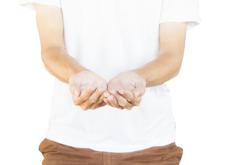 Man wearing white shirt and brown pants making hand gesture like a holding something isolated on white background royalty free stock photo