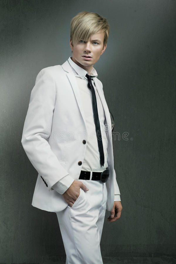 Man wearing white suit royalty free stock photography