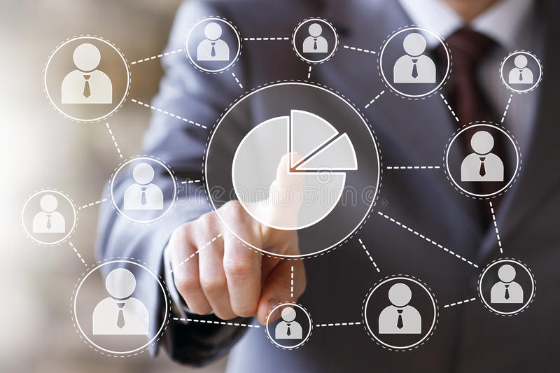 Man with web chart online business sign diagrams royalty free stock image