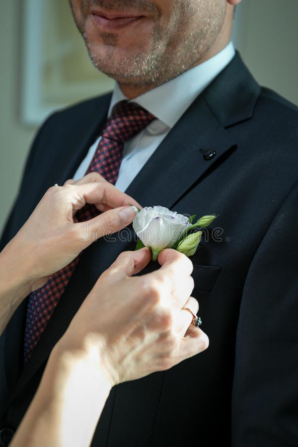 A man in a wedding, black suit,white shirt, blue tie in red and white speckles.The bride`s hands straightening a flower in the poc. A man in a wedding, black royalty free stock photography