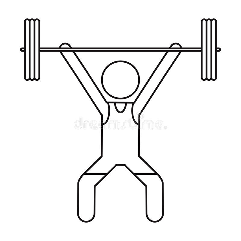 Man weight lifter sport athlete outline stock illustration