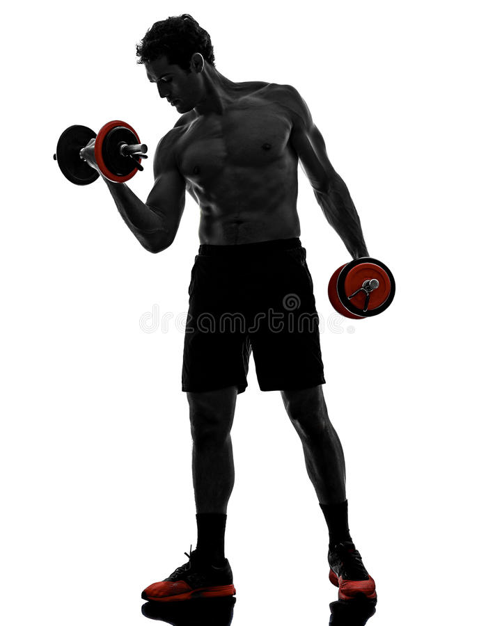 Man weights body builders training exercises stock image
