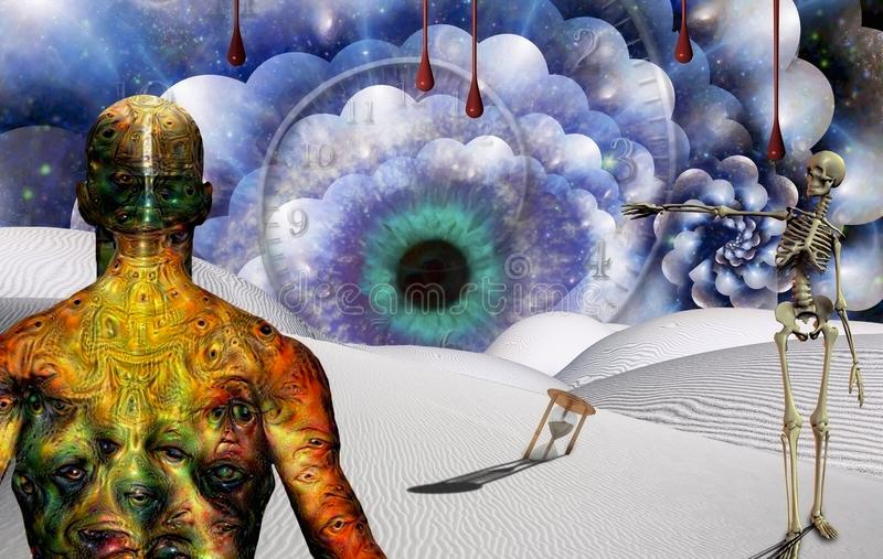 The Eye of God. Man with weird eyes on body stands in surreal desert with hourglass and watchful eye. Skeleton points to the Eye. Human elements were created royalty free illustration