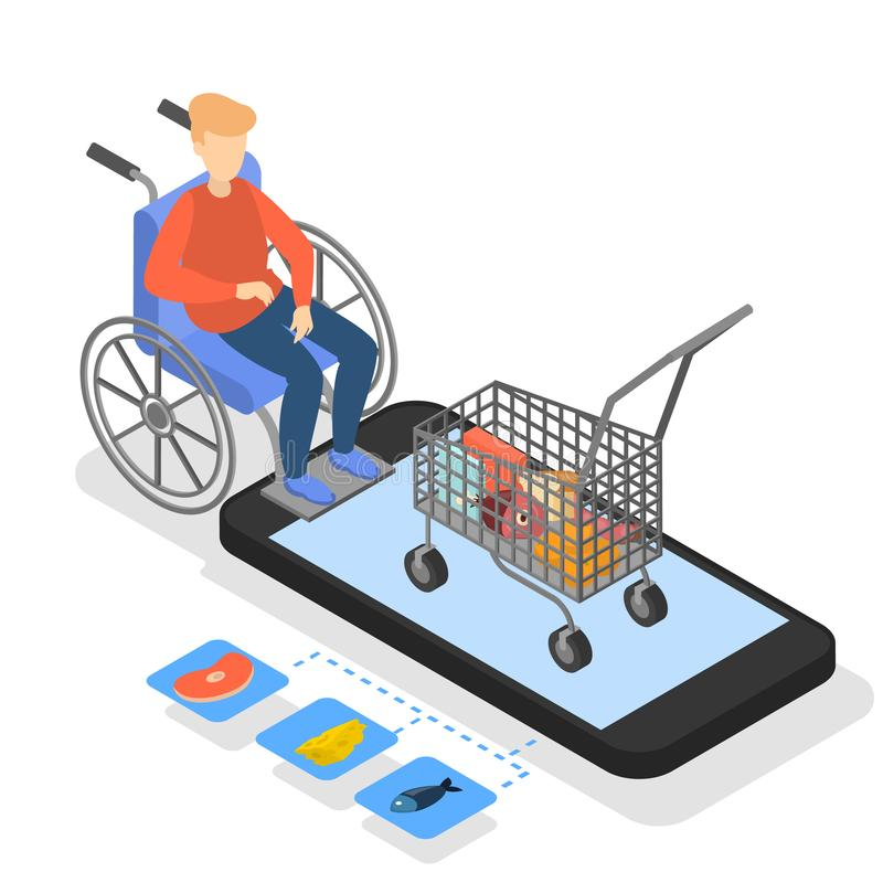 Man in wheelchair buying food in online store. stock illustration